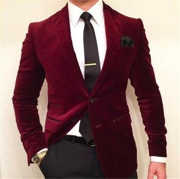 Slim Fit Burgundy Men's Suit Latest Coat Pant Designs Blazer Masculino 2 Pieces Blazer (Jacket+Pants) Ternos Masculinos