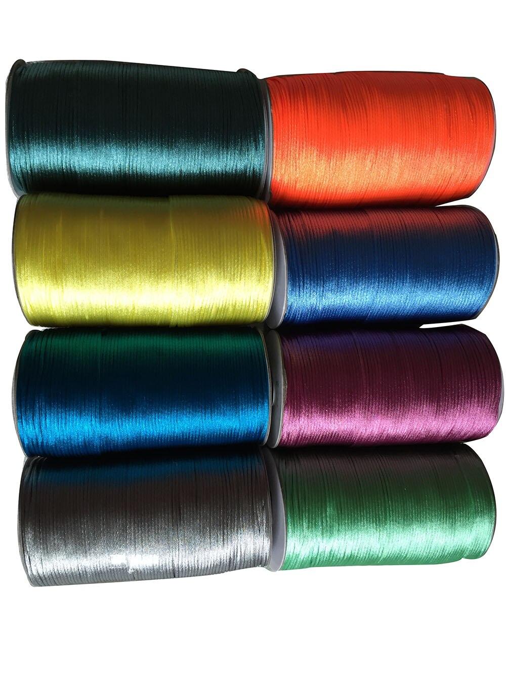 ¡U recoger! Cordón de nailon satinado de 2,5mm-Bricolaje joyería cuerda de macramé cadena accesorios 250 m/rollo 44 colores elección