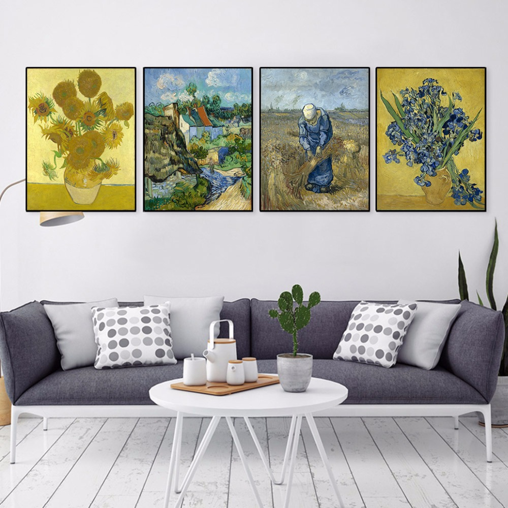 Vincent Van Gogh Modern Yellow Sunflower Poster Prints