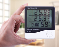 Digital LCD Thermometer Hygrometer Electronic Temperature Humidity Meter Weather Station Indoor Outdoor Tester Alarm Clock HTC
