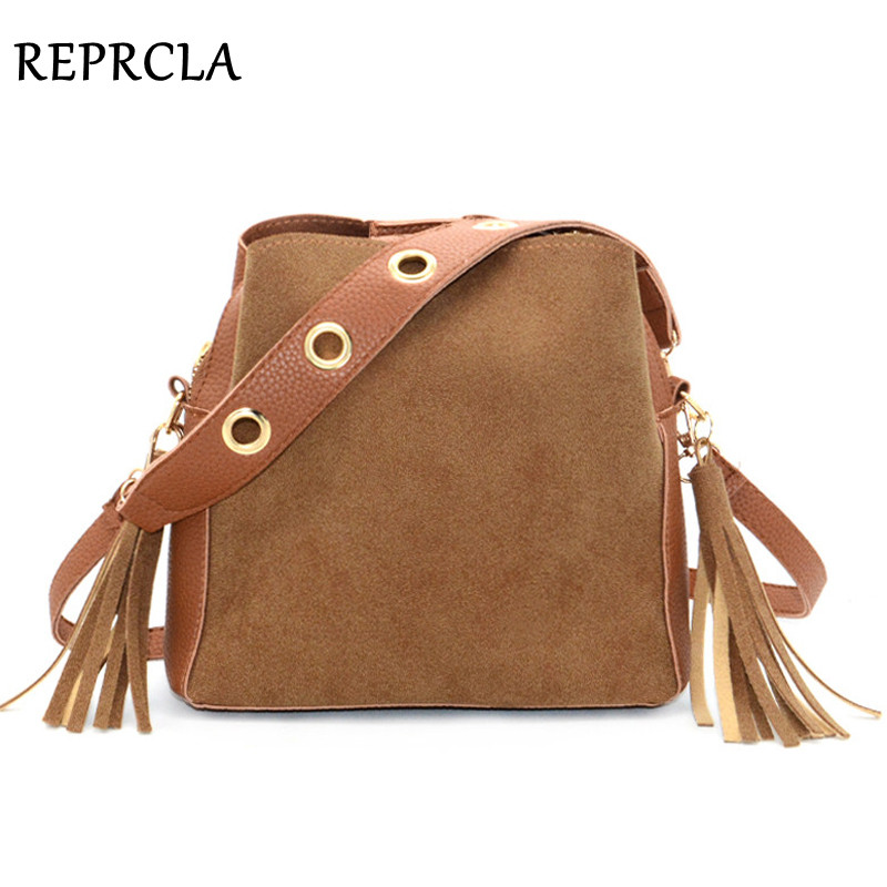 REPRCLA Brand Fashion Tassel Shoulder Bag Nubuck Leather Handbags Vintage Women Messenger Bags Crossbody Daily Casual Women Bag