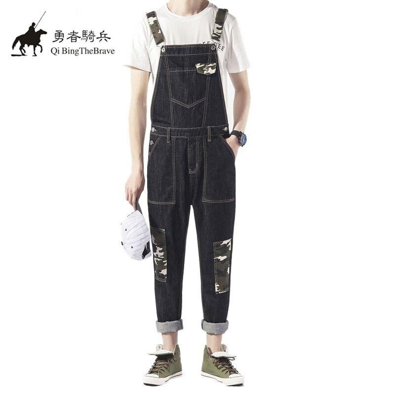 Multi pocket Camouflage Denim Jumpsuits Fashion Men's Harem jeans Pants Hip Hop Male Bib Overalls Suspenders cargo Pants 070903 inc women s multi pocket glow pants 16w sky grey