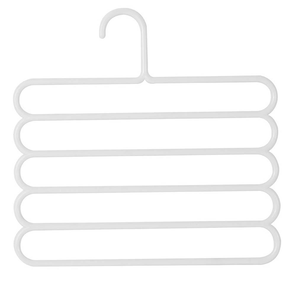 5 слоев не Нескользящая мультифункциональная подкладка под вешалки для одежды со штанами Для Хранения Вешалки ткань стойки Многослойные хранения шарф галстук вешалка 1 шт - Цвет: White
