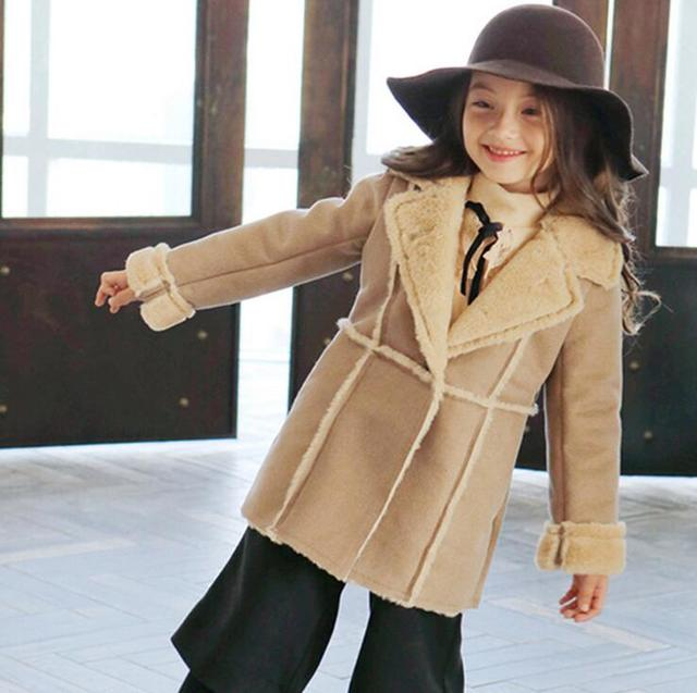 Winter New Year Girls Clothes 1piece Fashion Children's jacket girls wool coat 2-9Y girls winter coat wool girl outwear