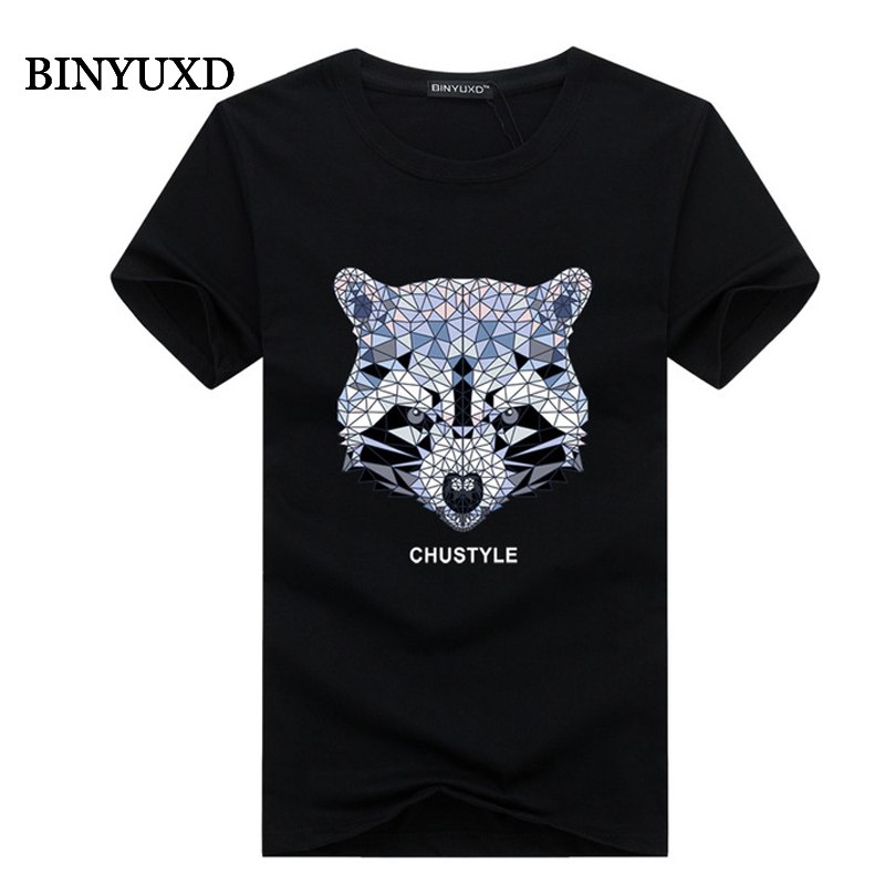 BINYUXD Mens T Shirts Fashion 2017 Summer Style Cotton 3D Tops Funny Letter diamond bear Extended 5XL Black Blue Yellow