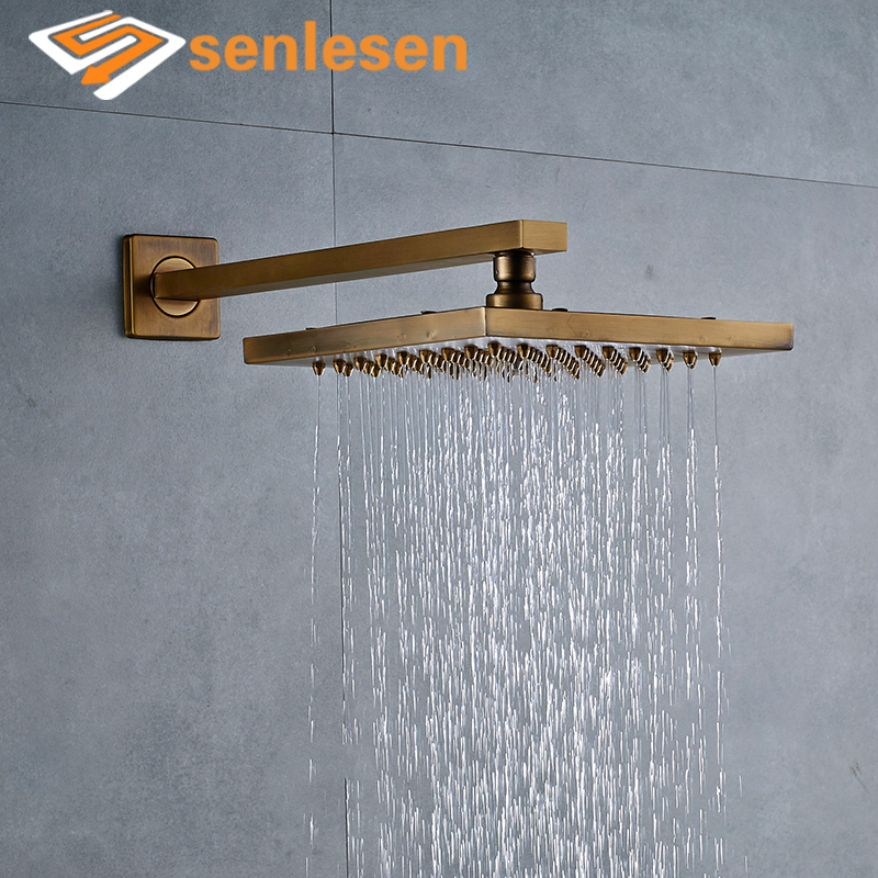 Antique Brass Wall Mounted Shower Faucet Sets 8\