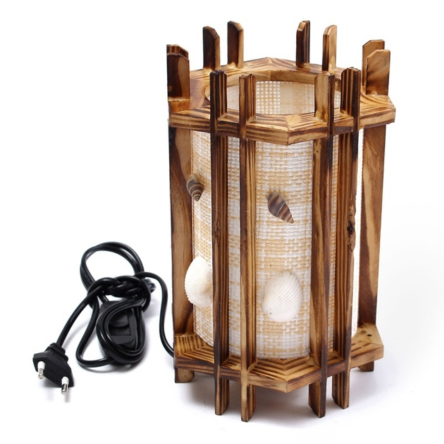Warm Light Vintage Antique Wooden Seashells Table Lamp Table Light For  Bedroom Living Room Desk Lamp