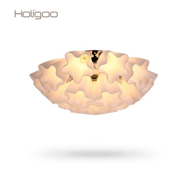 Holigoo Blume Moderne Deckenleuchte Mit Glas Lampenschirm Gold ...