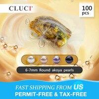 CLUCI 100 шт. 6 7 мм Круглый Akoya жемчуг в Oyster натуральный AAA качество Akoya жемчужный вакуумной упаковки устрицы с жемчугом