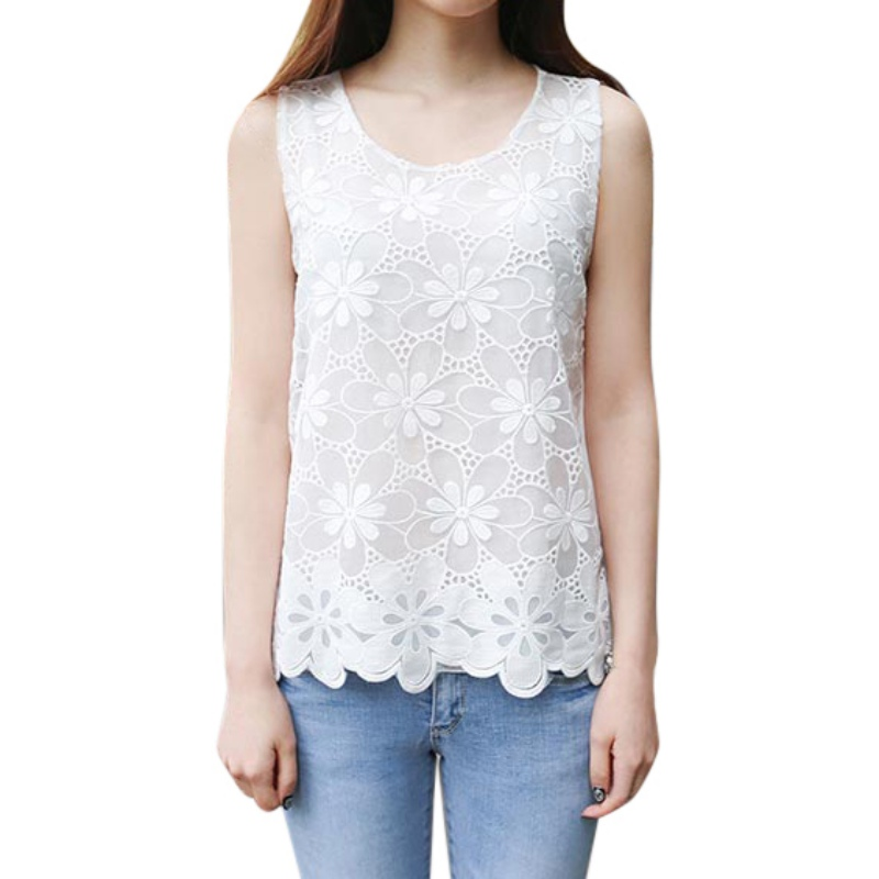 Plus Size 4XL White Tank Top Women Elegant Flower Embroidery Lace Blouse Summer Tube Top Sleeveless Shirt Clothing For Lady T6