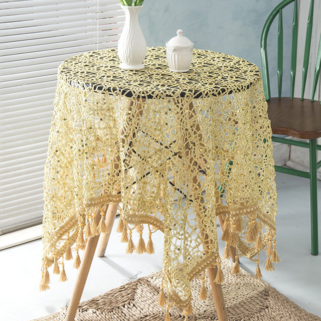 Gold Sequin Table Overlay Decoration Hollow Design Silver Table Cover  Wedding Party Rectangular With Tassel Beads