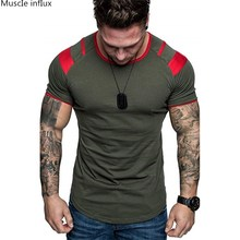 05560a7f 2019 Fashion stitching T Shirt Men Cotton Breathable Mens Short Sleeve  Fitness t-shirt Crossfit Gyms Tee Tight Casual Summer Top