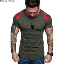 a10a34b0 2019 Fashion stitching T Shirt Men Cotton Breathable Mens Short Sleeve  Fitness t-shirt Crossfit