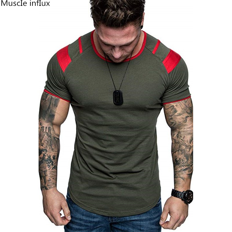 2019 Fashion Stitching T Shirt Men Cotton Breathable Mens Short Sleeve Fitness T-shirt Gyms Tee Tight Casual Summer Top