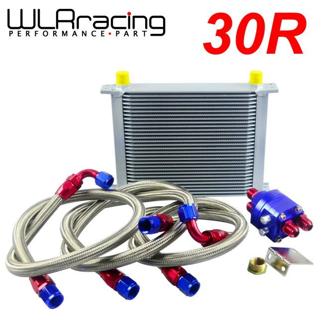 WLRING STORE- UNIVERSAL 30 ROW AN10 ENGINE TRANSMISS OIL COOLER KIT + FILTER RELOCATION BLUE pqy store blue 15 row an 10an universal engine oil cooler kit aluminum hose end kit pqy5128