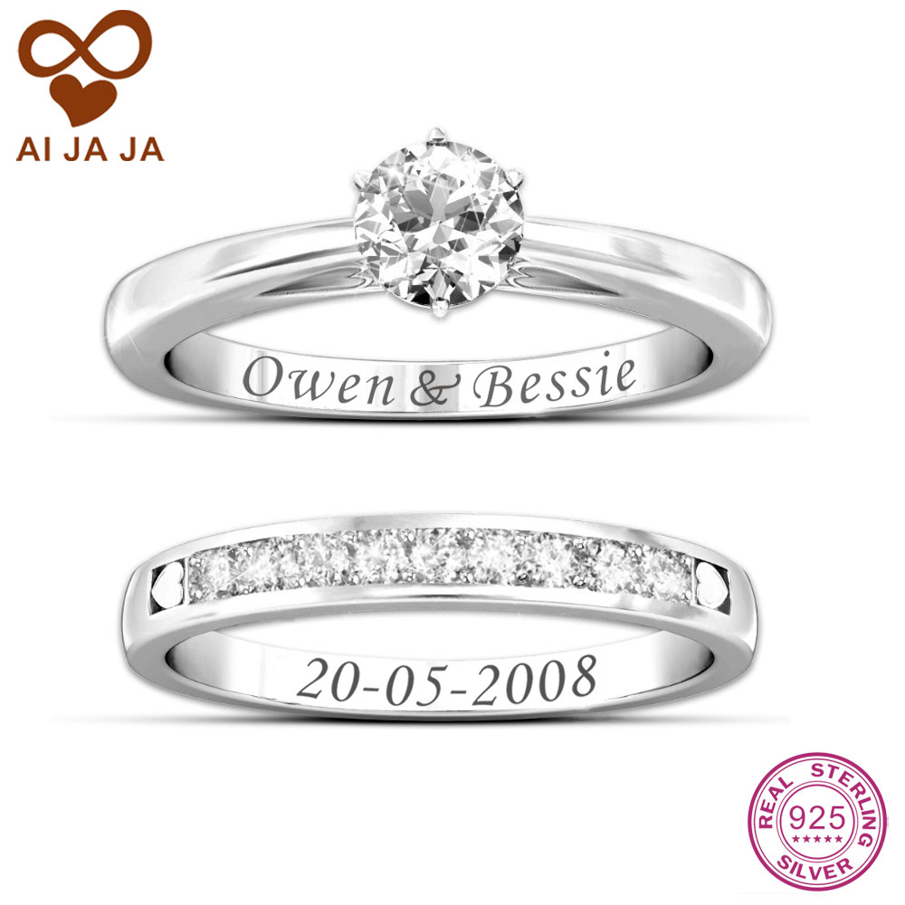 Aijaja 925 Sterling Silver Customized Engraved Wedding Rings Sets  Personalized Name Engraving Bridal Ring Sets Silver