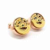Di alta Qualità In Oro Rosa Orologio Steampunk Moda Gemelli Della Camicia Francese Gemelli In Oro E Argento Gemelli di Lusso