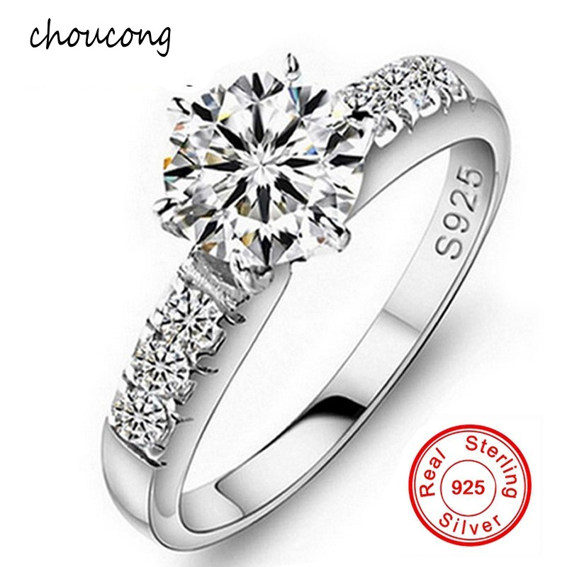 Big Promotion!!! Wholesale 100% Solid 925 Silver Ring Fine Jewelry Inlay 1.5 Carat CZ Diamant Engagement Rings For Women