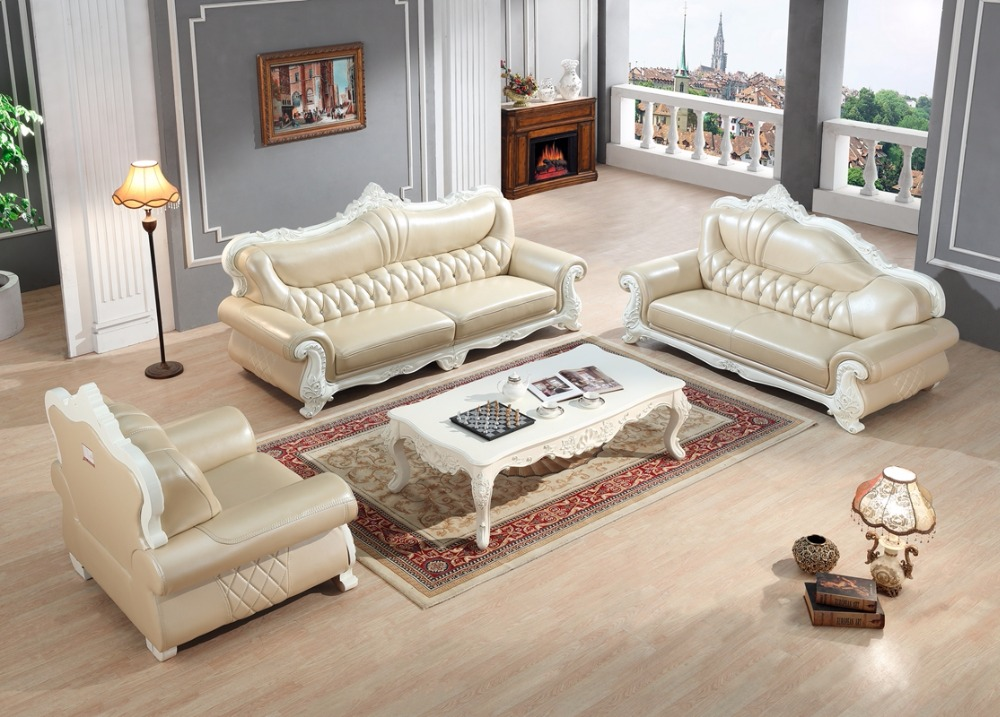 European Leather Sofa Set Living Room Sofa China Wooden Frame Sectional Sofa  Modern 1+4