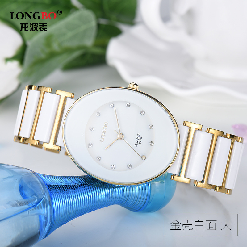Hot Womens Fashion Original High Quality Longbo Brand Quartz dress Wrist Watches Rhinestone Dial White Ceramic Girl Man Watch Hot Womens Fashion Original High Quality Longbo Brand Quartz dress Wrist Watches Rhinestone Dial White Ceramic Girl Man Watch