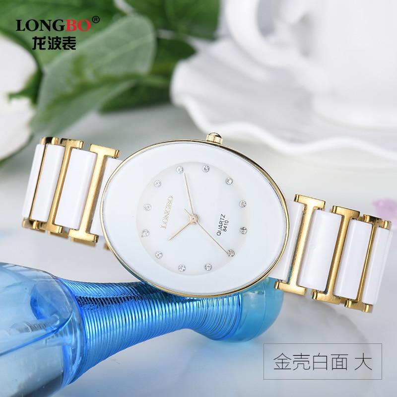 Hot Womens Fashion Original High Quality Longbo Brand Quartz Dress Wrist Watches Rhinestone Dial White Ceramic Girl Man Watch