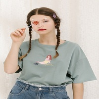 2018 New Design Styles Women Casual Mermaid Print Green T Shirt Tee Tops Female Short Sleeve Top Tees Printed T shirt Women Top