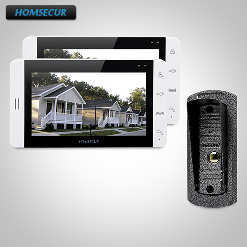 "HOMSECUR 7"" Wired Video Door Phone Intercom System+White Monitor for Apartment 1C2M : TC041 Camera + TM703-W Monitor (White)"