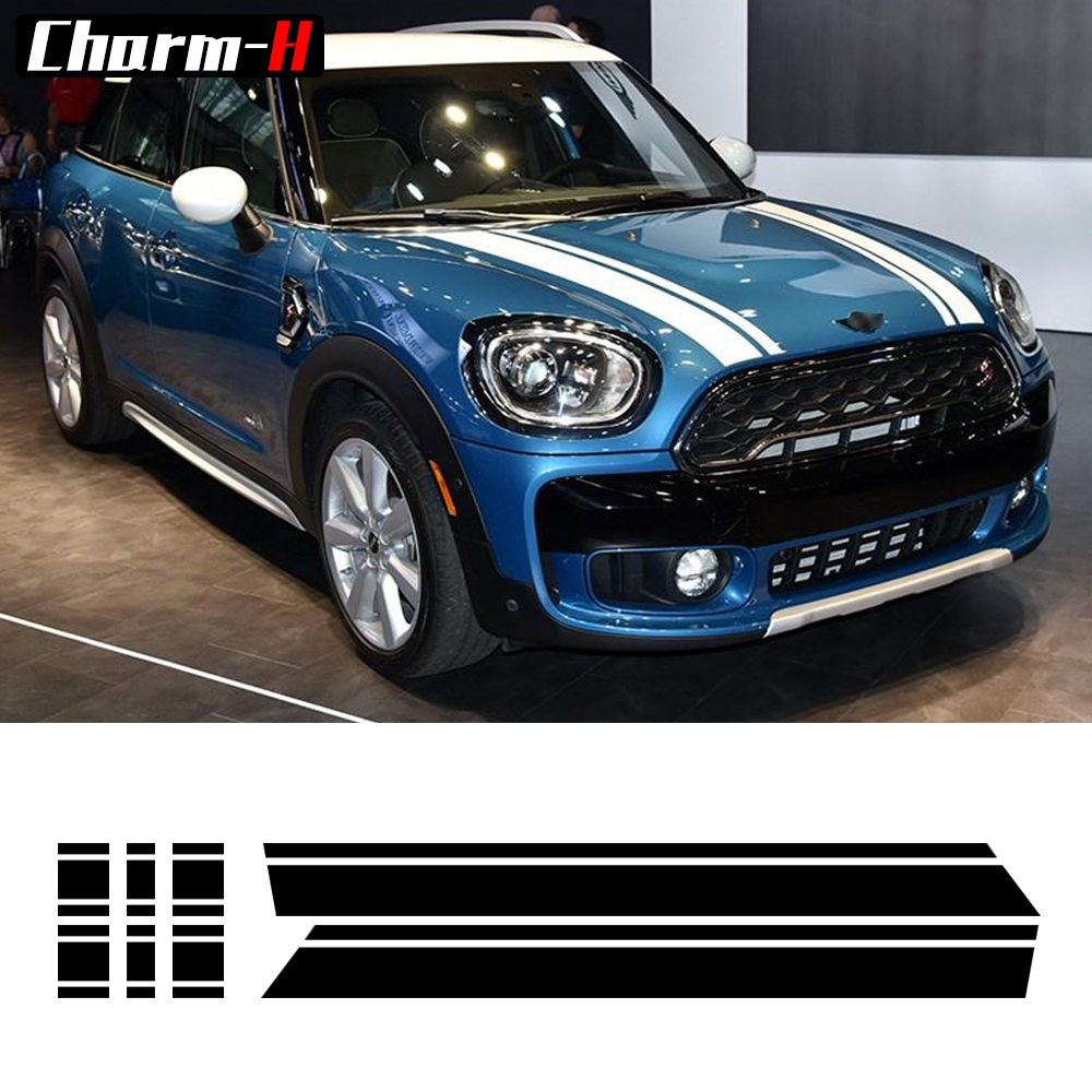 Bonnet Stripes Hood Trunk Engine Cover Rear Vinyl Decal Stickers For Mini Cooper S Countryman F60 2017, Black/Red/White/Grey car styling hood trunk rear bonnet side stripes decal stickers jcw work graphic all4 for mini cooper countryman f60 2017 present