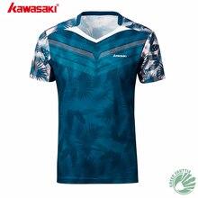 Натуральная Kawasaki ST-S1106 ST-S1110 бадминтон хлопковая футболка с коротким рукавом, одежда для Для мужчин и Для женщин с v-образным вырезом, с коротким рукавом, из дышащей ткани, одежда