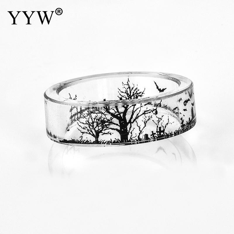 Newest Resin Ring Men Tree And Birds Ink Painting Scenery Inside Epoxy Rings Women Finger Fashion Jewelry Bagues Femme Anelli