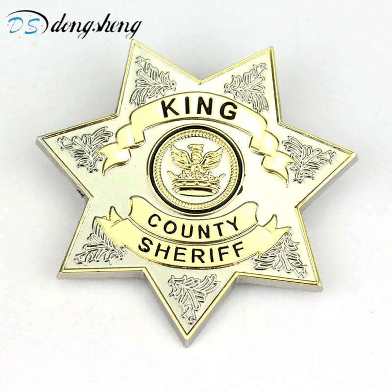 dongsheng Fashion Movie Jewelry The Walking Dead Uniform Star King County Sheriff Badge Gaes Cosplay Pin Shirt Brooches-40