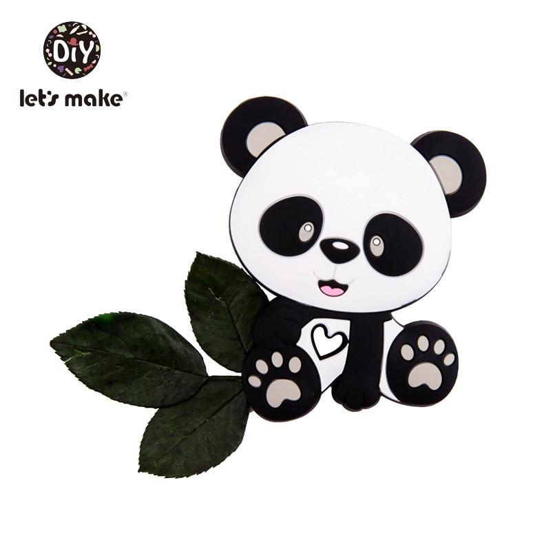 Купить с кэшбэком Let's Make Baby Teether Panda Cartoon Shape 1pc Food Grade Teething Pendant Nurse BPA Free Silicone Teether For Teeth Tiny Rod