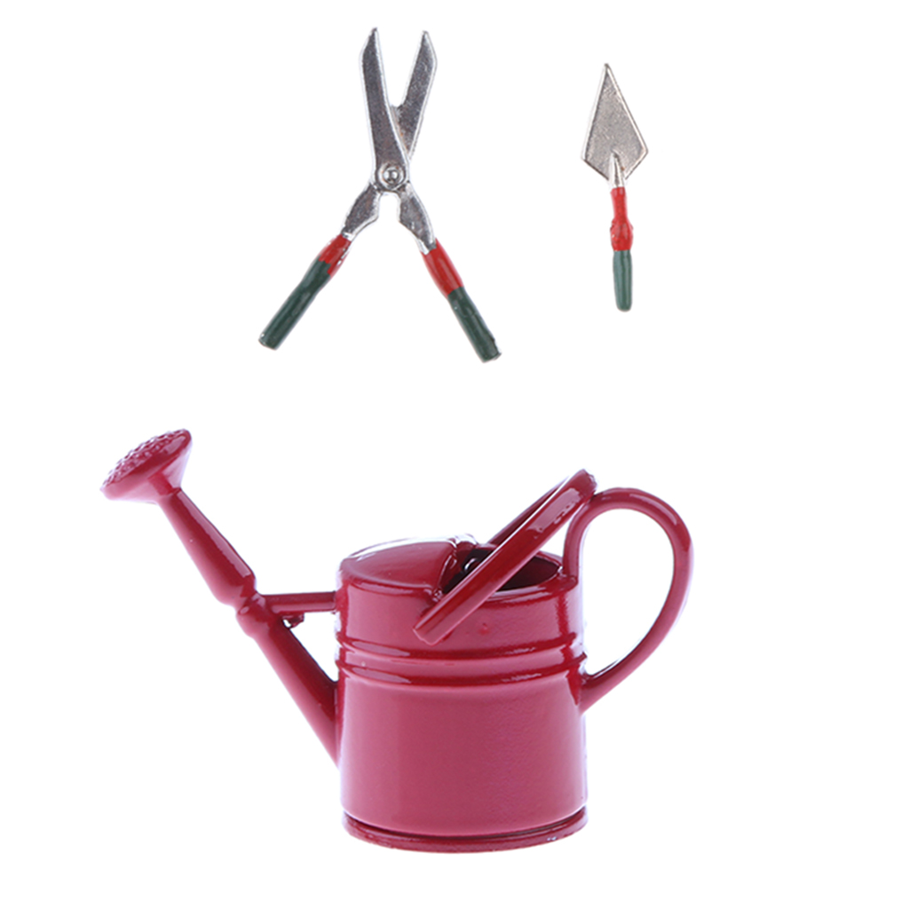 Green + Red 1/12 Dollhouse Miniatures Watering Can and Gardening Tools Set for Dolls House Garden Decoration Kids Classic Toy