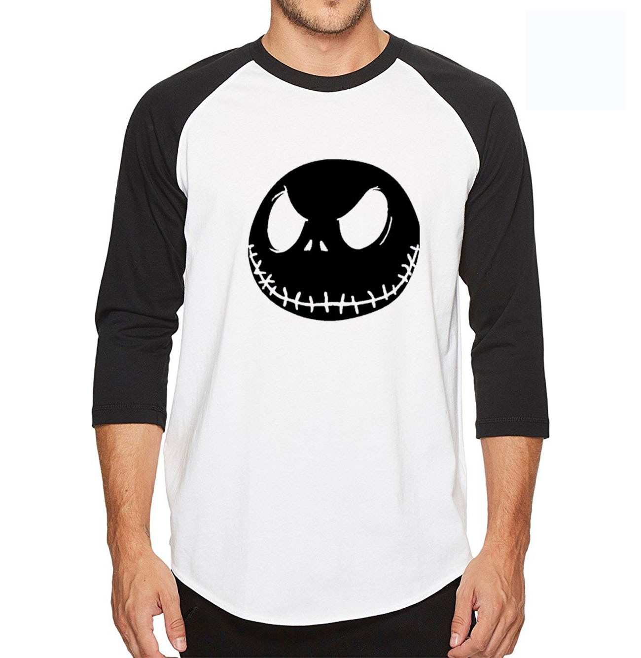 2018 summer men t shirt Nightmare Before Christmas Jack Skellington 3/4 sleeve tshirt cotton high quality raglan tee shirt men
