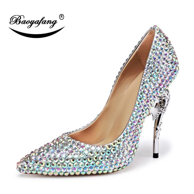 4462a7fb6d Nupcial Estilo Cristal Apontado Ab Partido Sapato Novo Dedo Strass Do Sapatos  Crystal Estranho Luxo Brilhando De Baoyafang Pé Casamento Vestido TFJlK1c