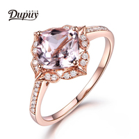 DUPUY VS 7mm Cushion Cut Morganite Ring Floral Halo Diamond Gemstone Ring Stackable Ring Vintage Ring Jewelry DIY F0011MO