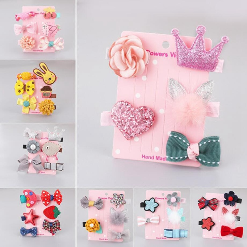 1lot 5pcs Fashion Cute Cartoon Hair Accessories Set Animal Cloth Patchwork Baby Headwear Rabbit For Girl Flower Hair Clip