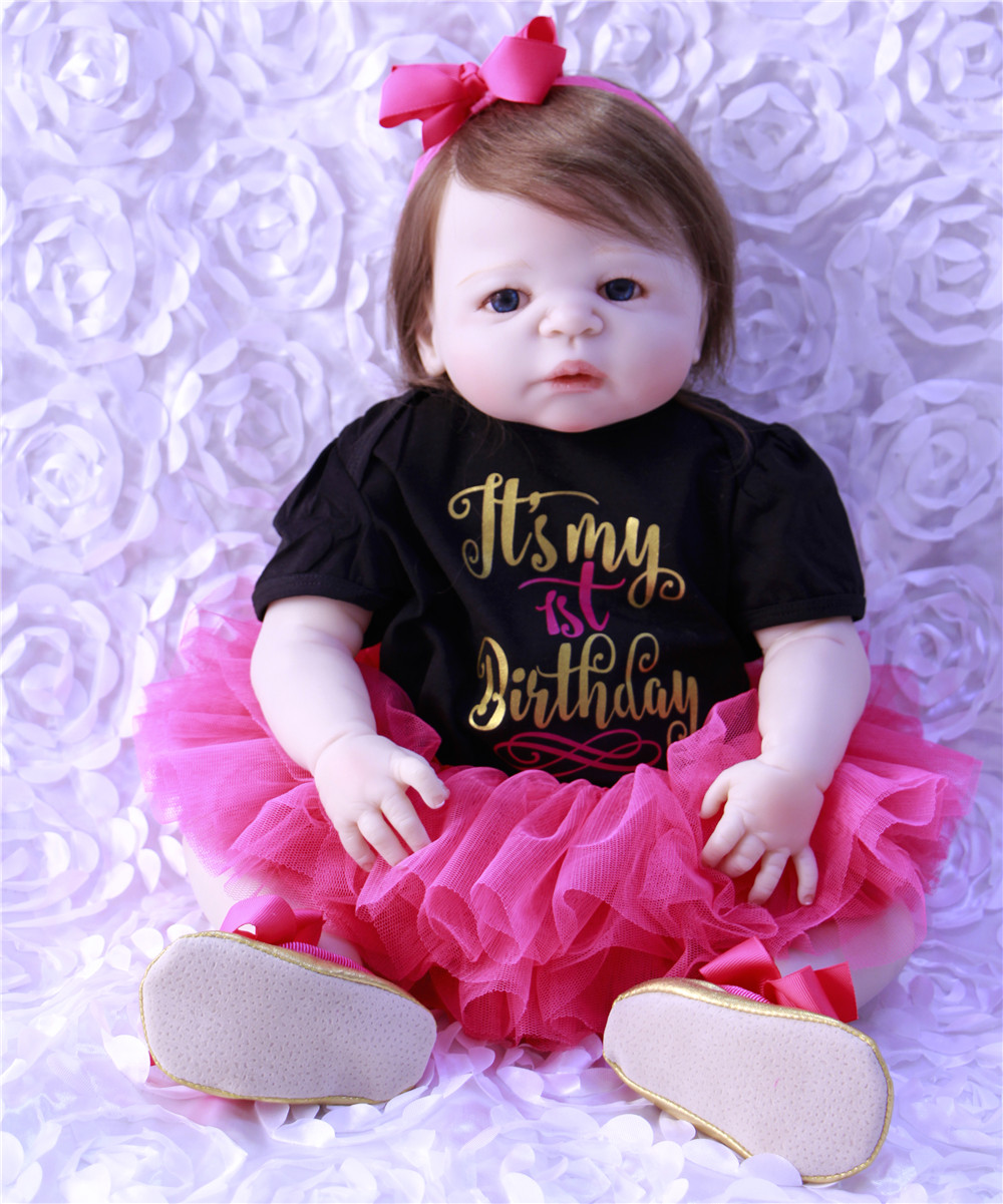 With blue eyes 23 Inch Handmade Baby Girl Dolls Reborn Silicone Vinyl Newborn Babies Princess Lifelike Toy Kids Birthday GiftWith blue eyes 23 Inch Handmade Baby Girl Dolls Reborn Silicone Vinyl Newborn Babies Princess Lifelike Toy Kids Birthday Gift
