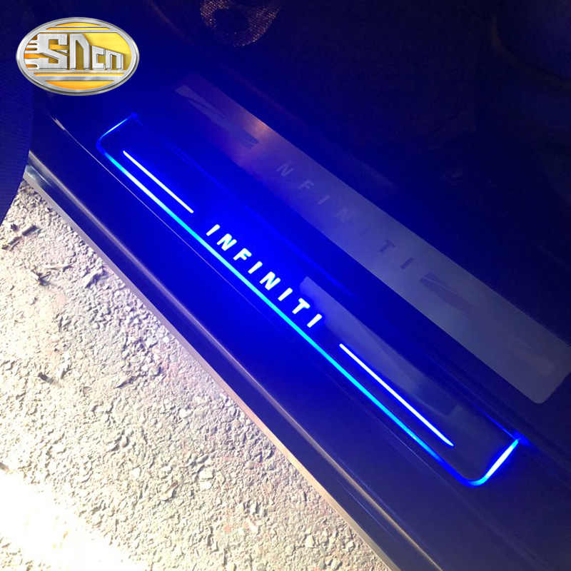 SNCN 4PCS Car LED Door Sill For Infiniti G25 G37 2010 - 2013 Ultra-thin Acrylic Dynamic LED Welcome Light Scuff Plate Pedal