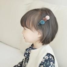 Милые детские заколки для волос для девочек, три цвета, тандем, помпон, заколки для волос, заколки, головные уборы, Детские аксессуары для волос