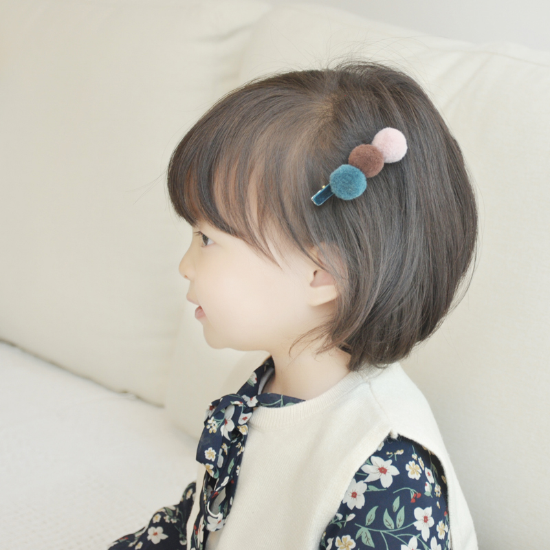 Cute Kids Snap Hair Clips For Girls Three Colors Tandem Ball Pompom Hair Pins Barrettes Headwear Baby Children Hair Accessories