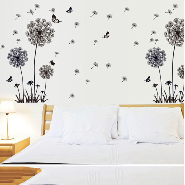 Papillon Volant Pissenlit Fleur Graines Grand Mur Autocollant Pour
