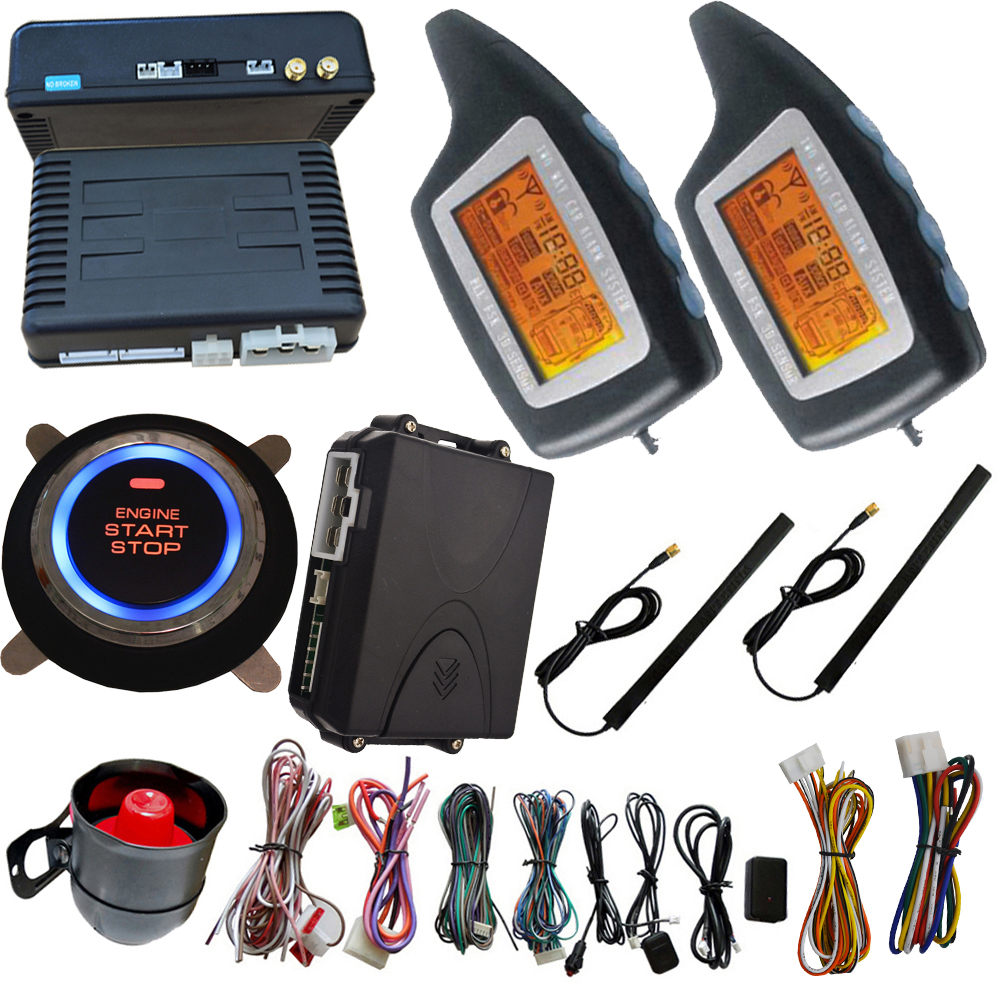 Passivo 2 vie sistema di allarme auto hopping codice di auto protezione di sicurezza pulsante di arresto di inizio del motore auto anti-furto funzione di allarme