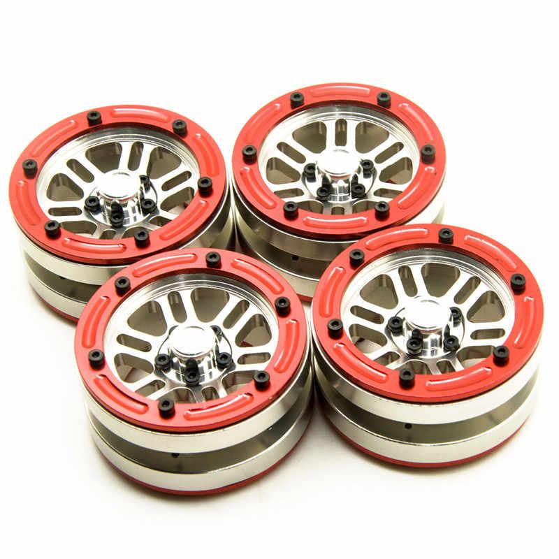 Zilver Rood Nieuwste 1/10 Axiale SCX10 1.9 inch Beadlock Lichtmetalen Wielen Velgen voor RC Crawlers CC01 F350 D90