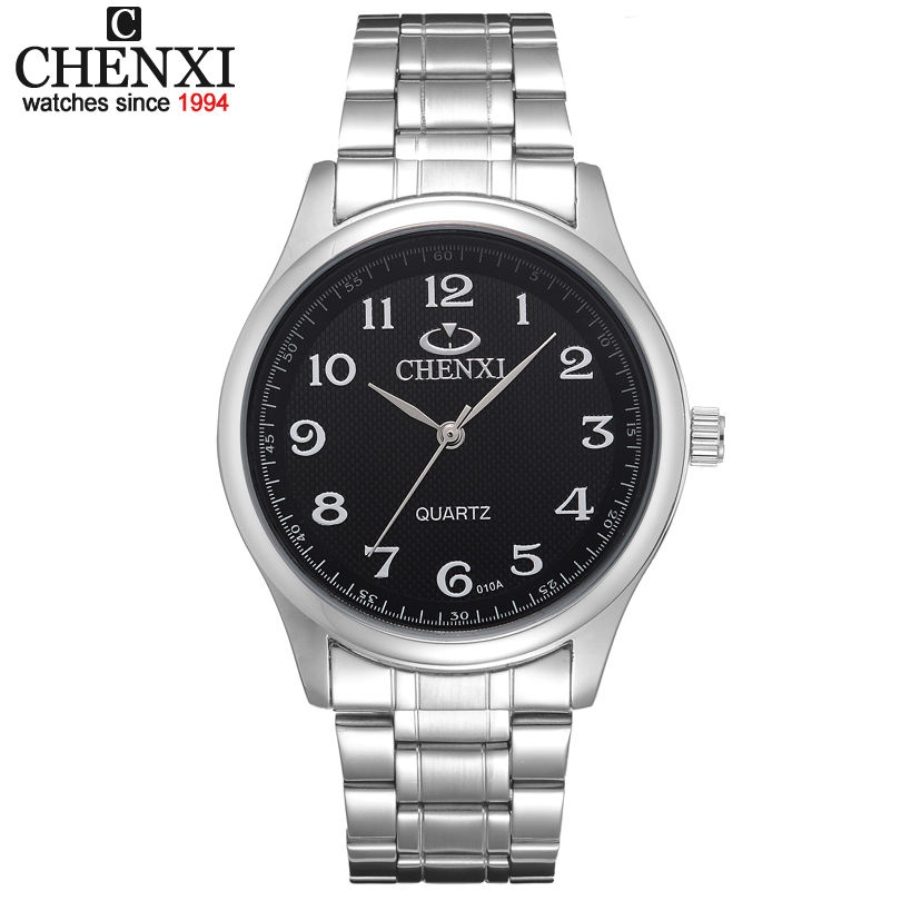 Sale Relojes free shipping for men Black and White dial silver bracelet classic watches men CHENXI CX-010A men full steel watch relojes full stainless steel men s sprot watch black and white face vx42 movement