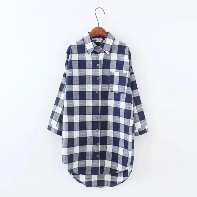 2cedfee29b Korean Cotton Shein Tops Sale 2019 Spring Plaid Shirts Blouses Medium Long  Casual Loose Vintage Flannel Shirt Sleeve Plus Size -in Blouses & Shirts  from ...