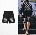 2017 Off White Shorts Hip Hop Streetwear dos homens Da Praia do Verão Calções Basculador Homem Homme Casuais Boardshorts Marca-Roupas