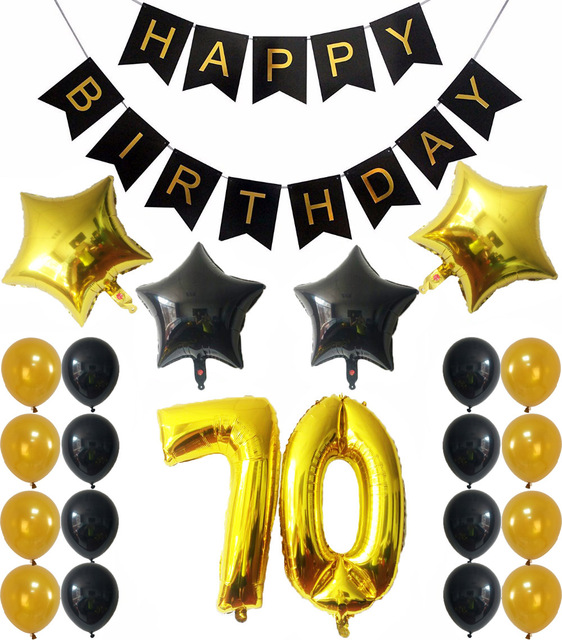 70th Birthday Balloons Happy Banner Foil Star Number 70 Balloon Gold And Black Latex