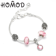 HOMOD 2019 New Summer Style Pink Cats eye Pendant Adjustable Size Silver Snake Chain Brand Charm Bracelet Dropshipping
