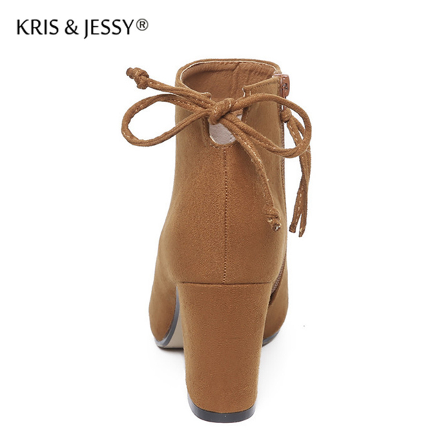 Kris&Jessy Fashion Women Boots High Heels Ankle Boots Thick Heels Shoes Brand Women Shoes Autumn Winter Botas Mujer Size 34-39